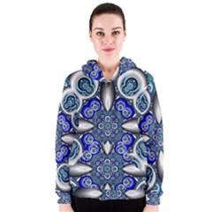Fractal Cathedral Pattern Mosaic Women s Zipper Hoodie