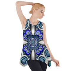 Fractal Cathedral Pattern Mosaic Side Drop Tank Tunic