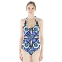 Fractal Cathedral Pattern Mosaic Halter Swimsuit