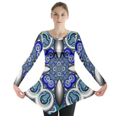 Fractal Cathedral Pattern Mosaic Long Sleeve Tunic