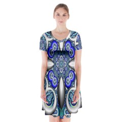 Fractal Cathedral Pattern Mosaic Short Sleeve V-neck Flare Dress