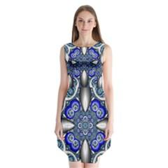 Fractal Cathedral Pattern Mosaic Sleeveless Chiffon Dress