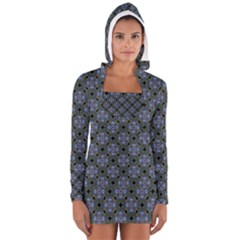 Space Wallpaper Pattern Spaceship Women s Long Sleeve Hooded T Shirt
