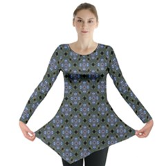 Space Wallpaper Pattern Spaceship Long Sleeve Tunic