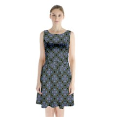Space Wallpaper Pattern Spaceship Sleeveless Waist Tie Chiffon Dress