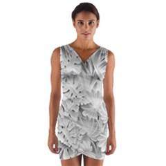 Pattern Motif Decor Wrap Front Bodycon Dress
