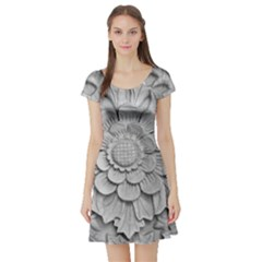 Pattern Motif Decor Short Sleeve Skater Dress
