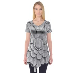 Pattern Motif Decor Short Sleeve Tunic