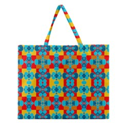 Pop Art Abstract Design Pattern Zipper Large Tote Bag