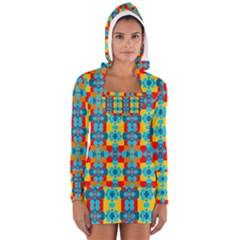 Pop Art Abstract Design Pattern Women s Long Sleeve Hooded T-shirt