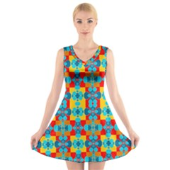 Pop Art Abstract Design Pattern V Neck Sleeveless Skater Dress