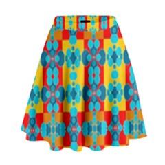 Pop Art Abstract Design Pattern High Waist Skirt