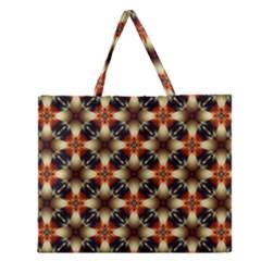 Kaleidoscope Image Background Zipper Large Tote Bag