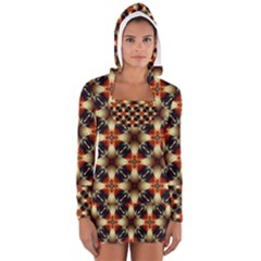 Kaleidoscope Image Background Women s Long Sleeve Hooded T-shirt