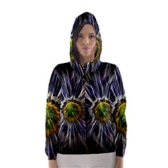Flower Structure Photo Montage Hooded Wind Breaker (Women)