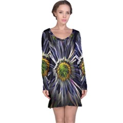 Flower Structure Photo Montage Long Sleeve Nightdress