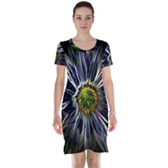 Flower Structure Photo Montage Short Sleeve Nightdress