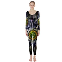 Flower Structure Photo Montage Long Sleeve Catsuit