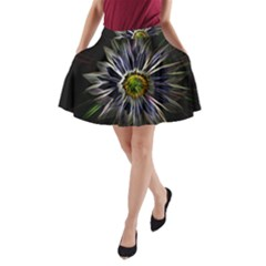 Flower Structure Photo Montage A Line Pocket Skirt
