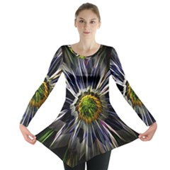 Flower Structure Photo Montage Long Sleeve Tunic
