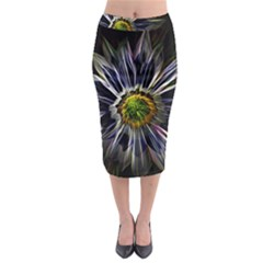 Flower Structure Photo Montage Midi Pencil Skirt