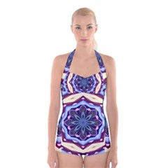 Mandala Art Design Pattern Boyleg Halter Swimsuit