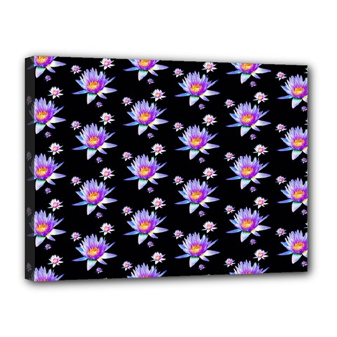 Flowers Pattern Background Lilac Canvas 16  x 12