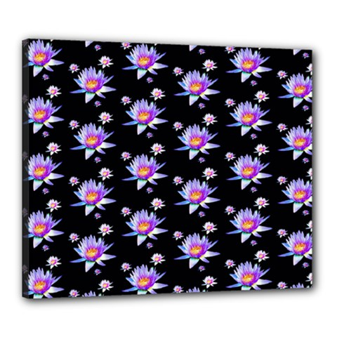 Flowers Pattern Background Lilac Canvas 24  X 20