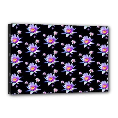Flowers Pattern Background Lilac Canvas 18  x 12