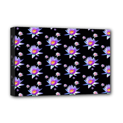 Flowers Pattern Background Lilac Deluxe Canvas 18  x 12