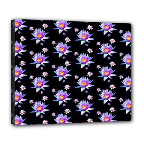 Flowers Pattern Background Lilac Deluxe Canvas 24  X 20