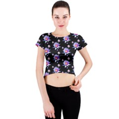 Flowers Pattern Background Lilac Crew Neck Crop Top