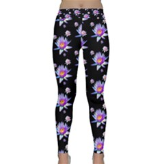 Flowers Pattern Background Lilac Classic Yoga Leggings