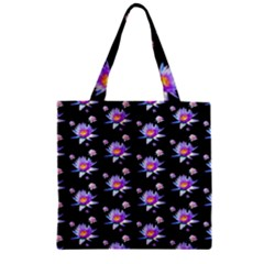 Flowers Pattern Background Lilac Zipper Grocery Tote Bag