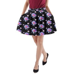 Flowers Pattern Background Lilac A-Line Pocket Skirt