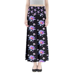 Flowers Pattern Background Lilac Full Length Maxi Skirt