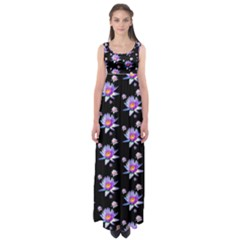Flowers Pattern Background Lilac Empire Waist Maxi Dress