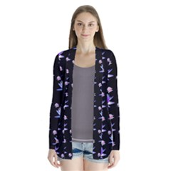 Flowers Pattern Background Lilac Drape Collar Cardigan