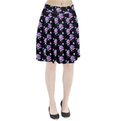 Flowers Pattern Background Lilac Pleated Skirt