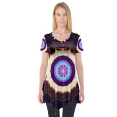 Mandala Art Design Pattern Short Sleeve Tunic