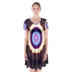Mandala Art Design Pattern Short Sleeve V-neck Flare Dress