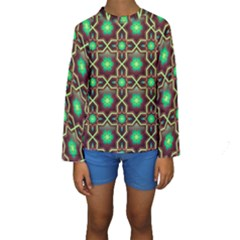 Pattern Background Bright Brown Kids  Long Sleeve Swimwear