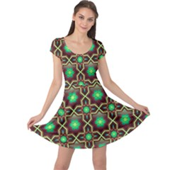 Pattern Background Bright Brown Cap Sleeve Dresses