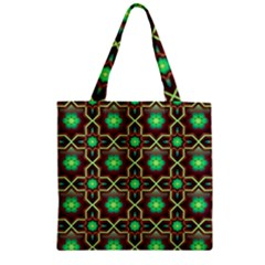 Pattern Background Bright Brown Zipper Grocery Tote Bag