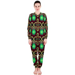 Pattern Background Bright Brown OnePiece Jumpsuit (Ladies)