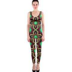 Pattern Background Bright Brown OnePiece Catsuit