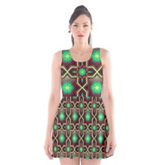 Pattern Background Bright Brown Scoop Neck Skater Dress