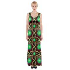 Pattern Background Bright Brown Maxi Thigh Split Dress