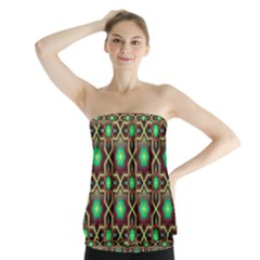 Pattern Background Bright Brown Strapless Top