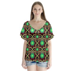 Pattern Background Bright Brown Flutter Sleeve Top